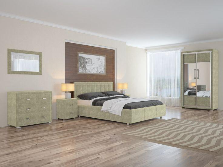 В нашем интерьере центральный элемент – элегантная кровать. Её изголовье отделано кантом и украшено декоративными пуговицами. Спальный комплект дополняют зеркальный шкаф-купе, комод и прикроватные тумбочки. А строгая геометрия мебели и элементов дизайна придает интерьеру завершенность. На фото: кровать Como2, комод, прикроватная тумба, двухдверный шкаф-купе, зеркало — из серии OrmaSoft 2, обивка мебели выполнена из мебельной ткани Лофти оливкового цвета…