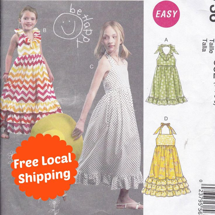Easy Sewing Patterns for Girls Summer Dress Pattern Party Dress Sleeveless Dress Halter Neck McCalls M6736 English and Spanish Instructions by PatternsFromOz on Etsy