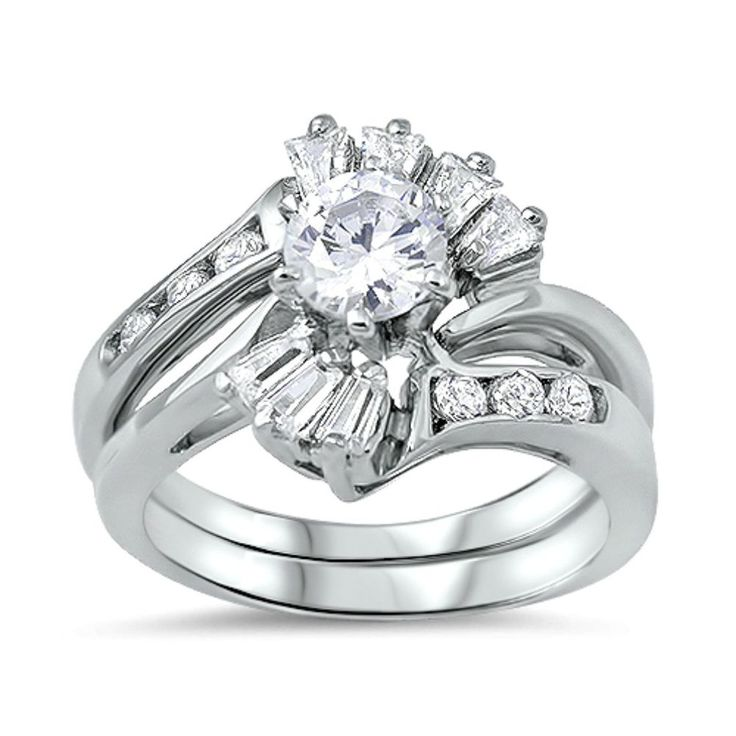 925 Sterling Silver Wedding Ring Set Size 7 Engagement Cz Bridal New Wz41 Unbranded