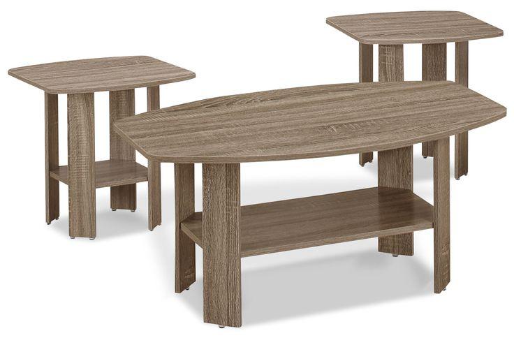Ravivez votre salle de séjour en un tour de main au moyen de cet ensemble de 3 tables Rosario. Doté d'une table à café et de deux tables de bout au fini taupe foncé, cet ensemble s'agence aisément à une variété de palettes de couleurs. Les angles modernes se marient à la conception minimaliste pour conférer à ces tables une apparence contemporaine idéale pour tout espace décontracté. De plus, la tablette inférieure sur chaque table offre un endroit parfait pour conserver les revues, l...
