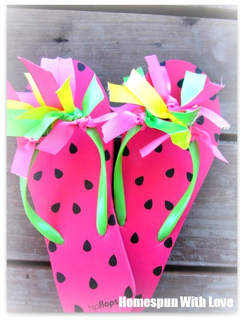 Homespun With Love: Buttons & Ribbons Summer Flip Flops  decorating idea