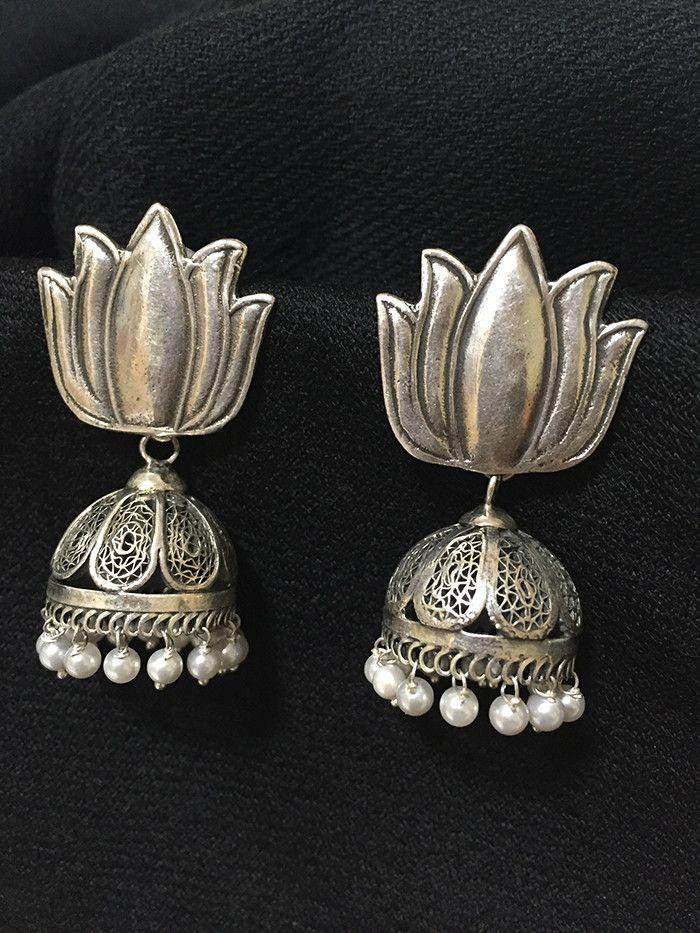 Lotus Pearl Silver Jhumkis