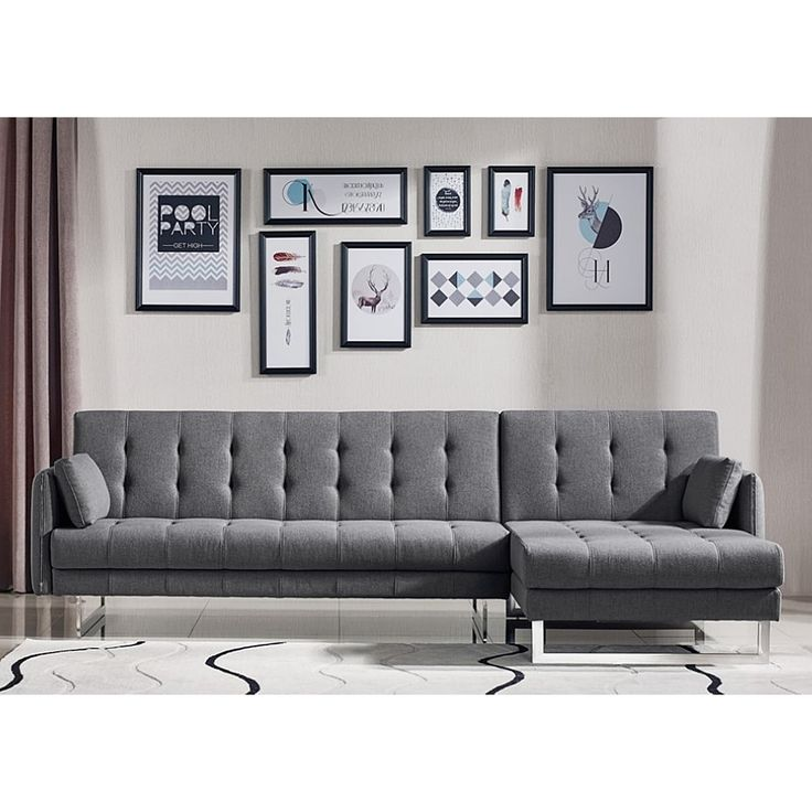 Larchmont Tufted Convertible Grey Fabric Sofa Bed, Gray