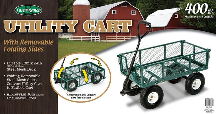 Garden Cart Utility Wagon Folding Collapsible Heavy Duty Wheelbarrow Yard Steel #FarmRanch
