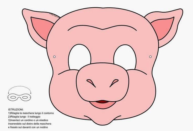 Máscaras de Carnaval: Máscaras de cerdos para imprimir color y colorear con lobo