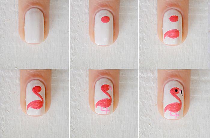 Nail art: flamingos