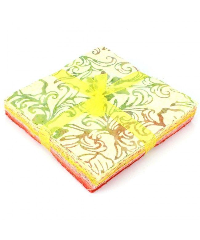 LOUDelephant Cotton Batik Charm Pack Pre Cut Fabric Bundle - Yellows to Reds