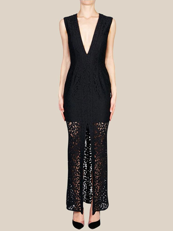 NICHOLAS - Paisley Lace Deep V Gown