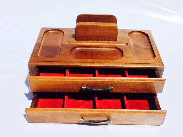 Mid Century Wood Dresser Valet / Mid Century Jewelry Box / Valet by VintageVixens1 on Etsy