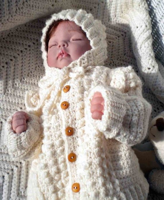 Crocheted Baby Irish Knit Sweater Hat Newborns Infants