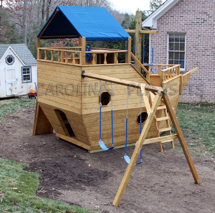 Wooden pirate ship playhouse plans woodworking projects for Wooden playhouse designs
