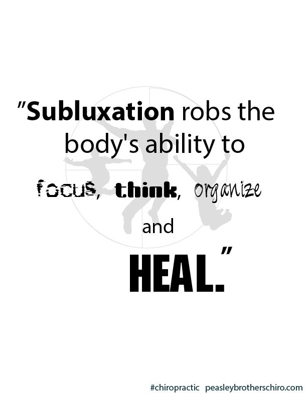 Subluxation robs the body's ability to focus, think, organize and heal. Visit Dr. Pike to be subluxation free!