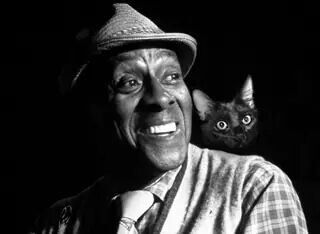 Scatman Crothers and friend. Cool, daddy. American actor, dancer, singer, musician, starred in The Shining and cat lover.