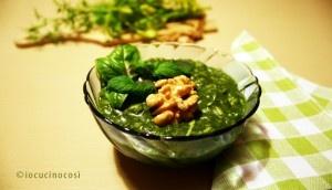 Risotto profumato con pesto di spinaci e noci