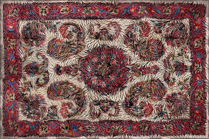 each rug, most of which are drawn from antiquarian sources, has a fiber density of 500,000 per square meter and is printed with a resolution of 76dpi.