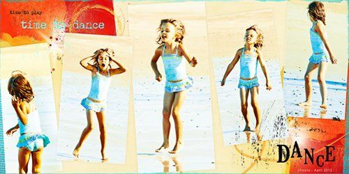 I love this layout by Ona on Creating Keepsakes.  The motion the photos creates is just great!