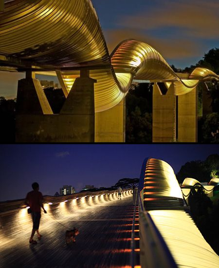 Henderson Waves Bridge  The highest pedestrian bridge in Singapore. This 9 km structure connects Mount Faber Park with Telok Blangah Hill Park.