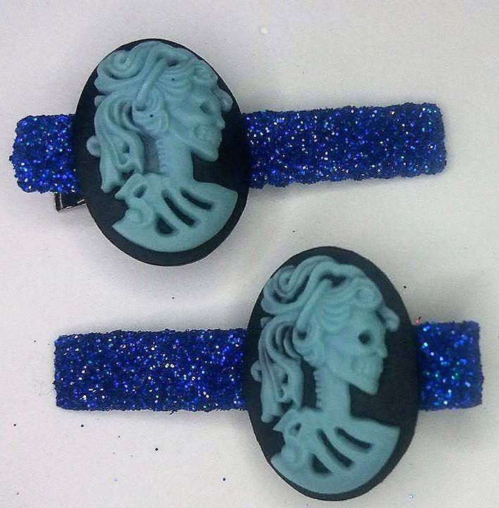 Beautiful glitter clips with Gothic skeleton girl cameo by YourDeadlyDesires on Etsy