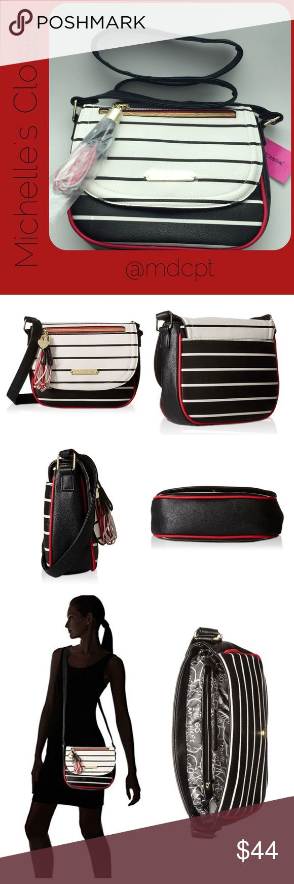 "Betsey Johnson Loop tassel Stripe Crossbody Non-adjustable cross-body strap with 23.5@ drop length. Magnetic snap closure. Large tassel accessory on exterior with quilted design. Exterior zip pocket. Interior zip pocket with two additional wallet credit card slots. Off white, black with red accents.  Side is tapered 3"" at bottom, 2"" at narrowest top. Betsey Johnson Bags Crossbody Bags"