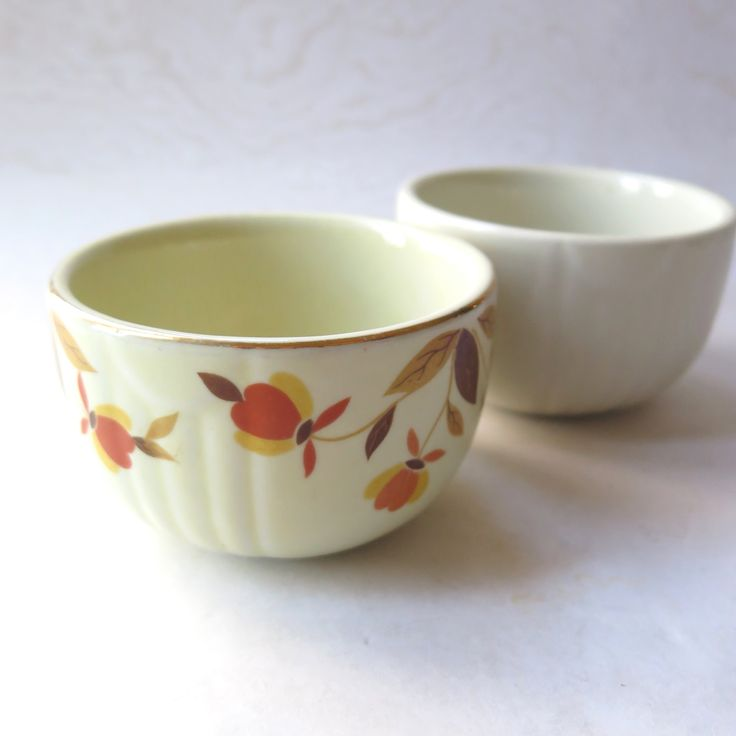 Hall Bowls Autumn Leaf Jewel Set of Two 3.5 Diameter Hall's Superior Quality Kitchenware Pottery Retro Kitchen Baking Cups by stonebridgeworks on Etsy