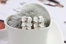New Style mode mignon Gardenia fleur cristal clous d'oreilles boucles d'oreilles strass pour les femmes(China (Mainland))