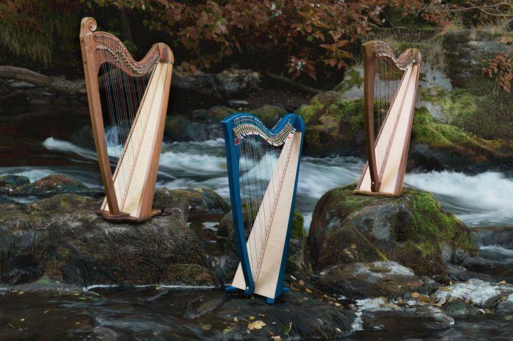 Teifi Harps at Cenarth on the river Teifi in Wales.