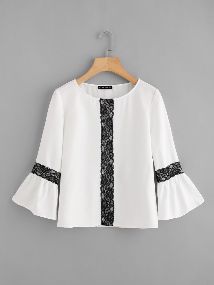 Shop Contrast Lace Applique Bell Sleeve Top online. SheIn offers Contrast Lace Applique Bell Sleeve Top & more to fit your fashionable needs.