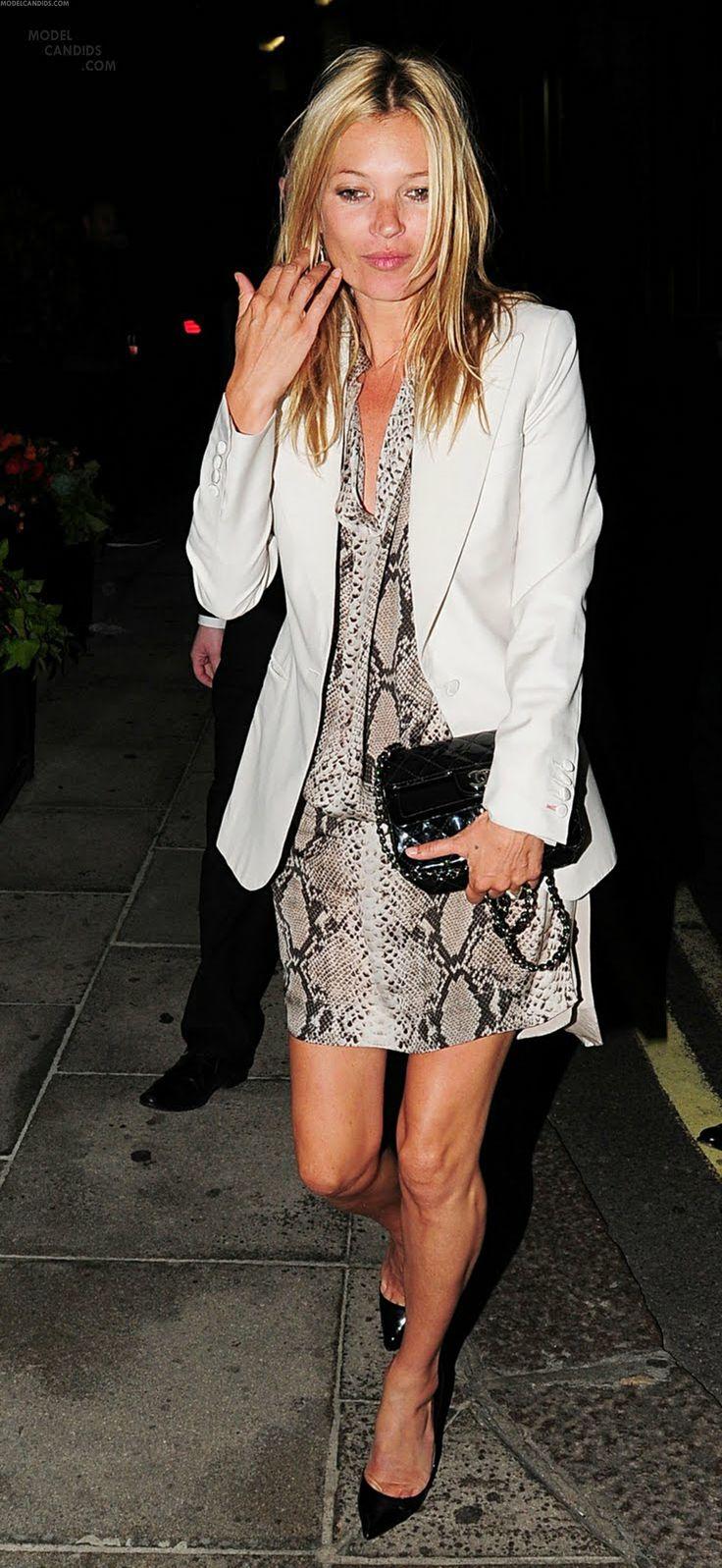 Kate Moss in snake print dress