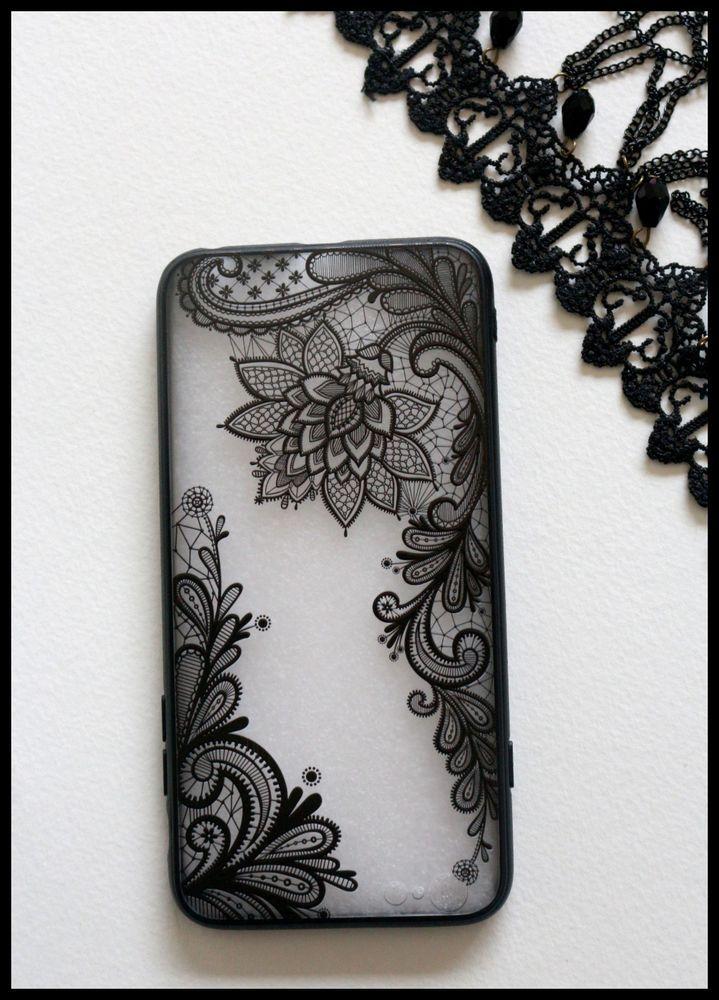 Coque rigide dentelle noir fleurs iPhone 7 plus + telephone girly