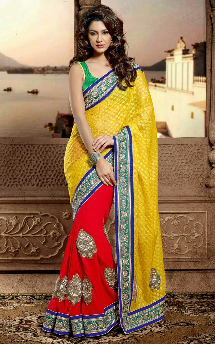 RED & YELLOW CHIFFON EMBROIDERED SAREE - DIFF 28331