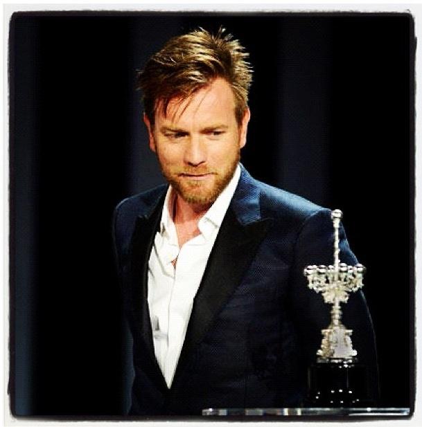 Ewan McGregor receiving the Donostia Award at the San Sebastian Film Festival on Thursday, September 27, 2012.