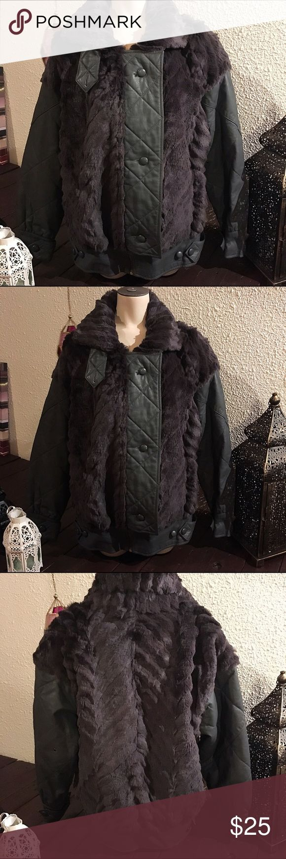 Faux fur and leather bomber jacket Faux fur and leather bomber jacket. Feels just like real fur. Only worn once. Jackets & Coats
