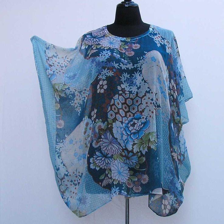 Blue tunic, plus size caftan, blue cover up, summer dress, boho kaftan, bohemian tunic, 1x 2x 3x 4x 5x 6x, blue asian kaftan, upcycled tunic by Rethreading on Etsy