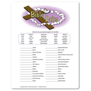 Christian bridal shower game. Players race to match up 'pairs' from the Bible that aren't only people but things as well.