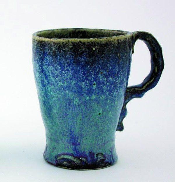 pottery mug with blue and purple glazes