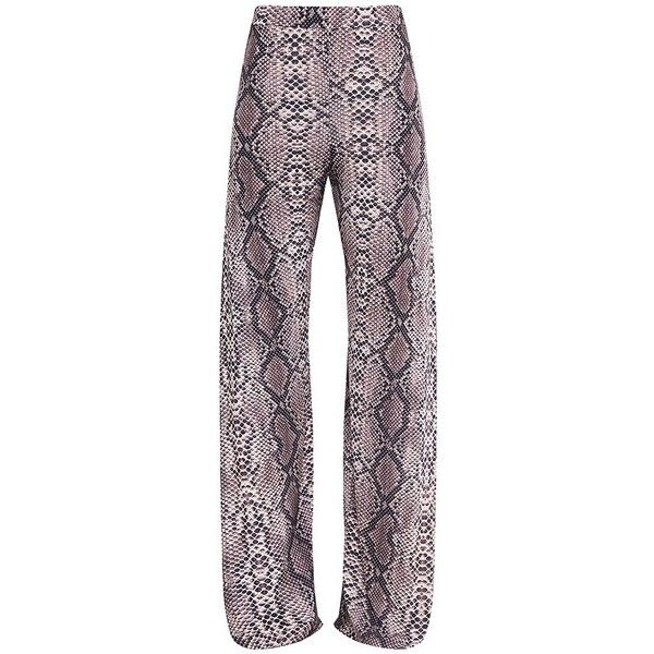 Darsee Taupe Snake Print Side Split Slinky Trousers ($11) ❤ liked on Polyvore featuring pants, taupe pants, snake print pants, snakeskin print pants, python print pants and python pants