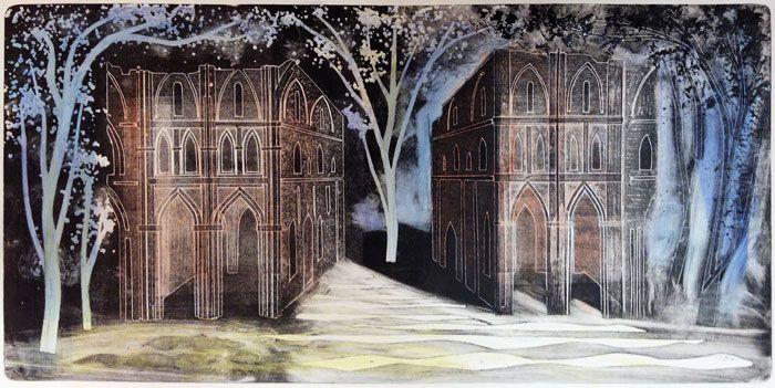 """Roche Abbey (3)"" by Ed Kluz (hand coloured monoprint )"
