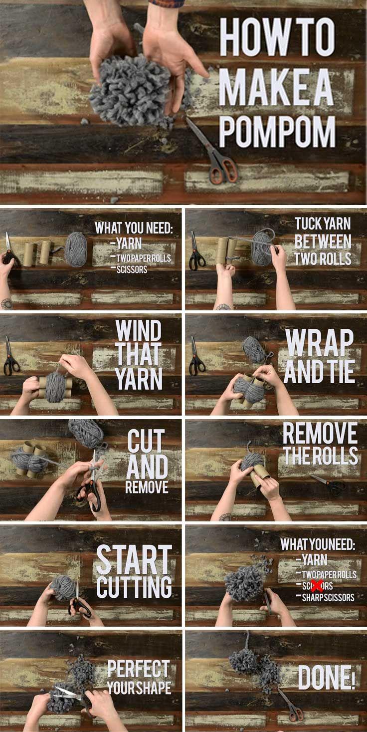 Yarn Hack: Make a Pom Pom Using Toilet Tissue Tubes! | Knitting Daily