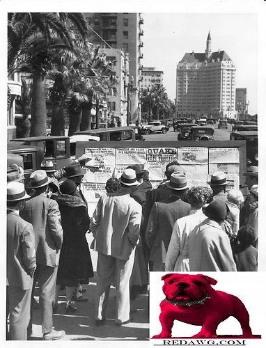 1933 Earthquake News Board Long Beach.Los Angeles California