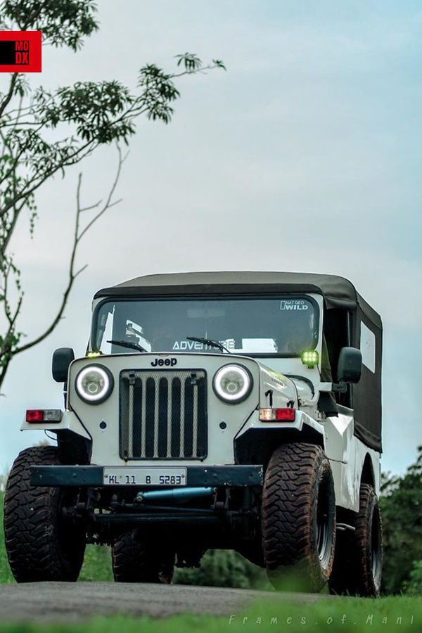 White Mahindra Jeep Di With Accelera Offroad Tyres Modifiedx Mahindra Jeep Jeep Jeep Life Picsart background jeep background hd