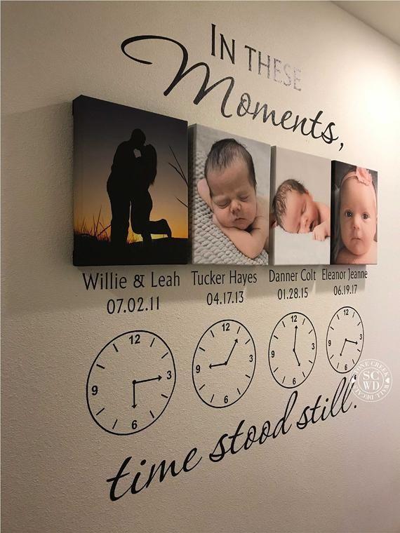 In diesen Momenten stand die Zeit still * personalisierte Wandtattoo * Familie Wandtattoo * Uhr Wandtattoo * Vinyl Schriftzug * benutzerdefinierte Wandtattoo