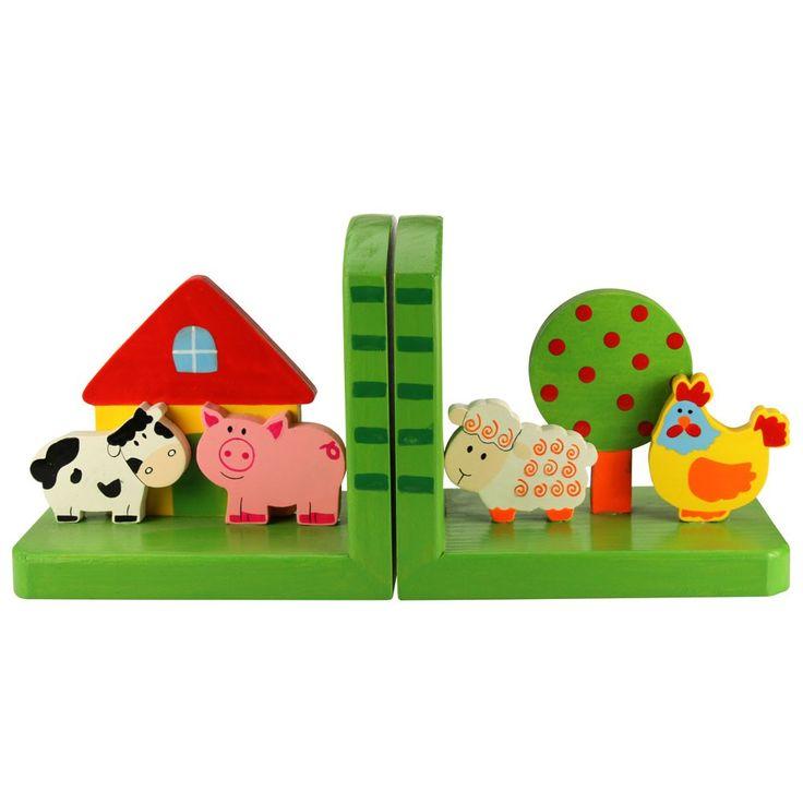 Boerderij boekensteunen  Deze set vrolijke dieren zorgen dat de boeken van de jonge lezers blijven staan en vrolijken de kamer op!   Afmetingen per boekensteun: 14 x 9 x 12 cm