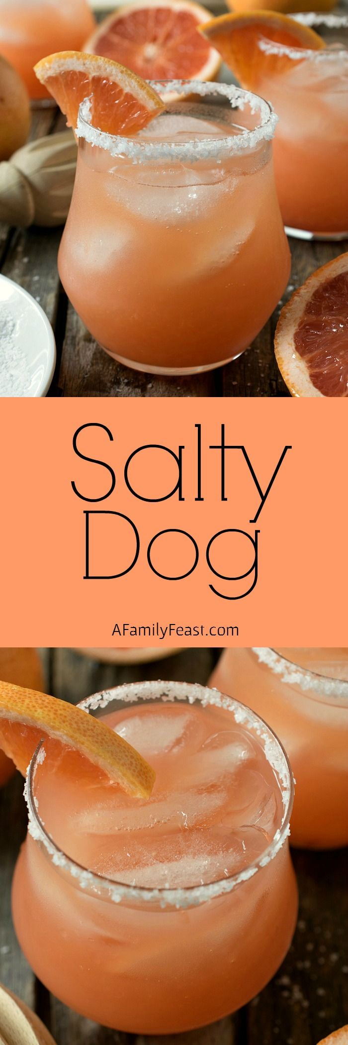 Salty Dog - A delicious cocktail made with grapefruit juice, vodka or gin, and served is a salted-rimmed glass.