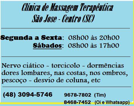 Clínica de Massagem Terapêutica,  Massoterapia,  Acupuntura, Quiropraxia - Fisioterapia e Massagista, em São José SC grande Florianópolis Floripa