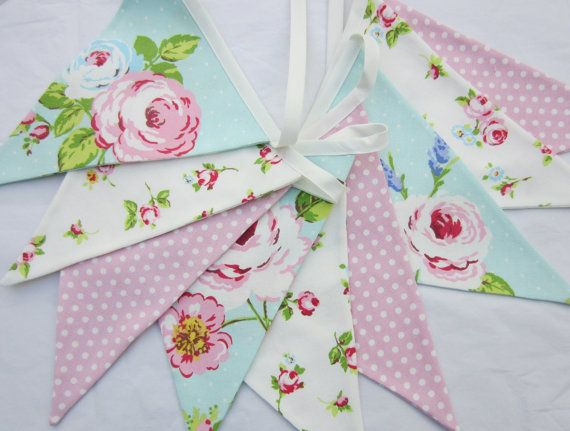 Fabric Bunting Shabby Chic , Pennant Flag Garland,  Roses Seafoam, Aqua Blue, Pink dotty  9 Double Sided Flags Pennant Banner, Baby Shower