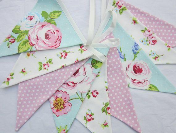 Pink and Aqua  fabric bunting Pennant Banner by AllTheTrimmingsUK