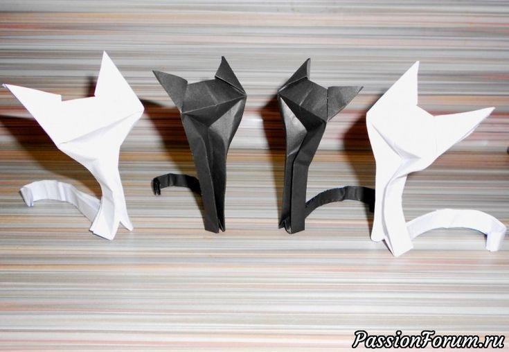 Кошка из бумаги Оригами схема