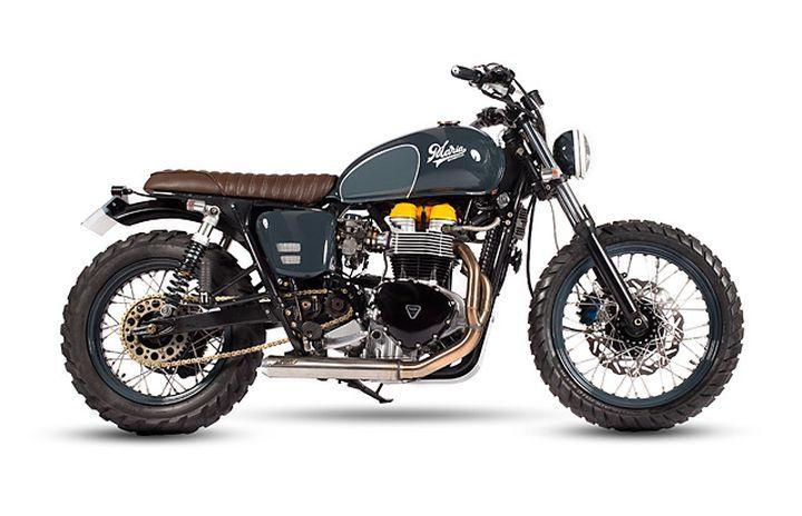 Beautiful Triumph Bonneville Scrambler by Maria Motorcycles #motorcycles #scrambler #motos   caferacerpasion.com