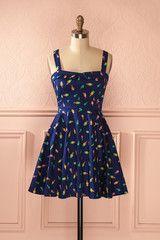 Keylonnie - Navy blue dress with ice cream cones print