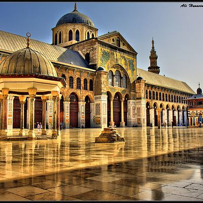 The Umayyad Mosque of Damascus, built upon a Christian Basilica where John Baptist is buried taken over by Arab rule. 624